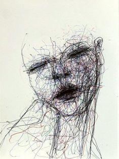 Naji Chalhoub aka Najimir aka ناجي شلهوب (Lebanese, Beirut, Lebanon) - Drawings: Ink on Paper Scribble Art, Utila, Beirut Lebanon, Pen Art, Various Artists, Red Lipsticks, Asian Art, Scary, Illustration Art