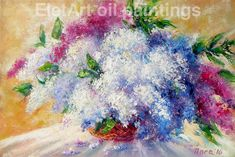 "Bright colored original floral oil painting on canvas ""Lilac Morning"" for sale by EletArt -  stretched and ready to hang #lilacflower #bouquet #paintingoil #originalpainting #EletArtoilpaintings #canvasart"