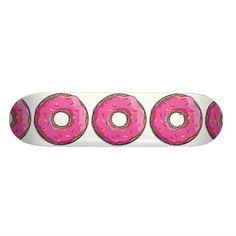 Cartoon Pink Donut With Sprinkles Skateboards