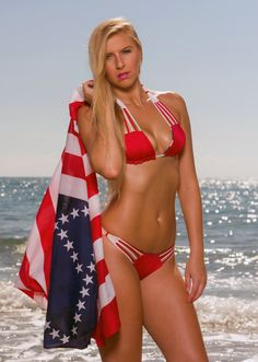 4th of July Bikini - Let Freedom Bell Ring! Show off your stars and stripes with this gorgeous designer bikini from Meg Liz Swimwear. You will not see this handmade bikini at any of your local pool parties, which makes it ideal for standing out in the crowd. #4thofjulybikini