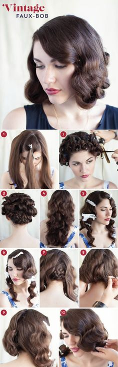 Dude, this is amazing. I love the 1920s/30s bobs/marcel waves look, but I've always got too much hair. This is perfect! |Hairstyles||Cool hairdos||Hair tutorials|Faux bob look|Costume ideas|Bobs for long hair|Vintage inspired hairstyles|