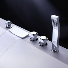 Brass Waterfall Tub Tap with Hand Shower (Chrome Finish)
