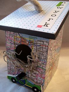 New York Drive Decoupaged Mini Birdhouse by tatteredpearls on Etsy, $8.50