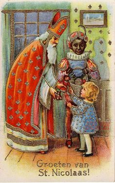 Here Saint Nicolaas is depicted in the Dutch tradition accompanied by Blackamoor Zwarte Piet (1850). Some accounts consider the black boy to be a servant while others a freed slave. Yet others say he orginated from a chimney sweeper covered permanently in soot. Although modern controversy has arisen, by most accounts St Nicolaas or Sinterklaas, was indeed a generous patron for children,  sailors, and the poor who originated from a Greek Bishop of Myra.