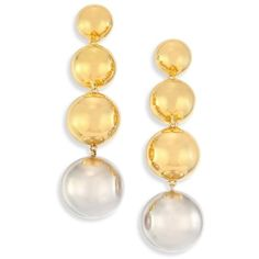 Elizabeth and James Vivi Drop Earrings (177,035 KRW) ❤ liked on Polyvore featuring jewelry, earrings, gold, graduation gifts jewelry, earring jewelry, elizabeth and james earrings, white drop earrings and elizabeth and james jewelry