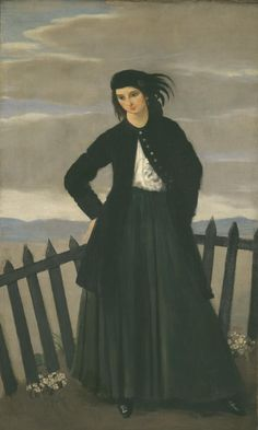 Dorelia in a black dress