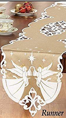 Amazon Com Winston Inc Angel Gold Halo Embroidered Christmas Table Runner Home Kitchen Manualidades Navidenas Cosas De Navidad Manteles Pintados En Tela