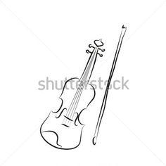 Black and White Cartoon Violin Vector Coloring stock vector - 365PSD.com