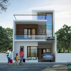 Pin by Nagesh Kulkarni on building Minimal House Design, Unique House Design, House Front Design, 20x40 House Plans, My House Plans, Narrow House Designs, House Construction Plan, House Elevation, Building Elevation