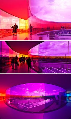 Your Rainbow Panorama by Olafur Eliasson is an enclosed circular walkway that sits atop the ARoS Aarhus Kunstmuseum in Denmark.