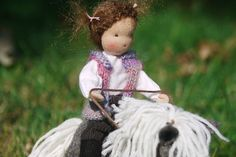 Waldorf figurine, Waldorf doll, Waldorf dollHouse, rider and a pony, wool felted pony