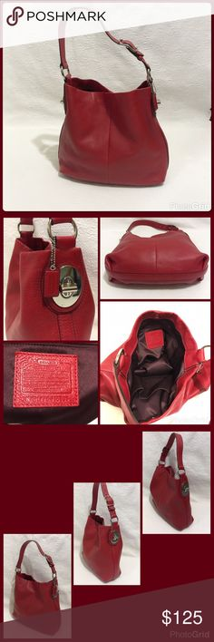 """Red Coach Leather Penelope Hobo Bag Excellent used condition! Leather with silver hardware. Snap closure with faux twist locks on the side. Burgundy satin lining with 3 interior pockets. Adjustable strap, 10"""" at longest. #H1176-F16535. Coach Bags Hobos"""