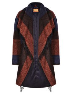 Fringed & Striped Blanket Coat with Wool