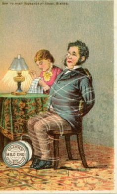 thread Advertising Trade card husband tied to chair