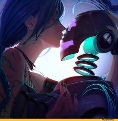 Jinx and droid, League of Legends, Art