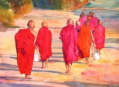 In the Afternoon Sun by Khin Maung Zaw - watercolor