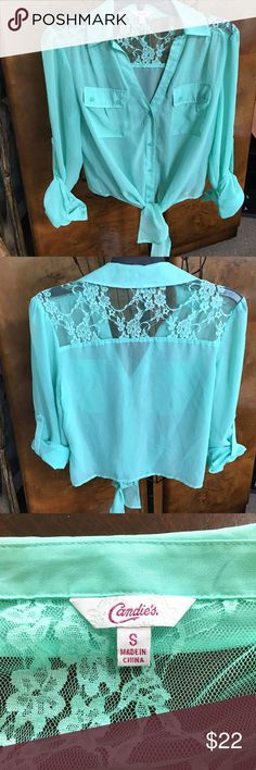 Candies Mint Green Sheer Blouse Size S Candies Mint Green Sheer Blouse Size S - Pockets On Front - Pull Tabs On Sleeves - Tie Bottom - Lace Inset Top - Worn Once Candies Tops Blouses