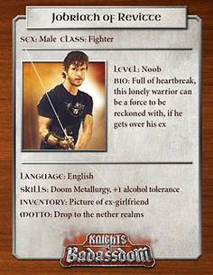 Knights of Badassdom Character Cards