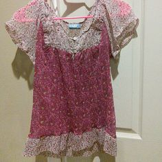 Boho Floral Top Sheer floral top. Baby pink and purple color. From India. Sauci Tops