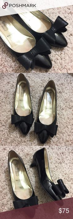 """Ron White Black Bow Kitten Heel All Day Pumps Previously loved, in good condition Ron White designer Kitten Heels. Made in Italy. These pumps are so adorable with an oversized bow. The bow is light and sturdy, not heavy and flimsy. Heel height is 1.75"""". You truly can wear these all day! Minor scuffing in front on both shoes and on heels, but barely noticeable when worn. Ron White Shoes Heels"""