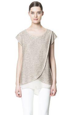 SEQUINNED SHORT - SLEEVE SWEATER - Knitwear - Woman | ZARA United States