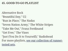 Run Seven Nation Army, Workout Songs, The White Stripes, Take Me Out, Radiohead, Beautiful Day, Running, Music, Musica