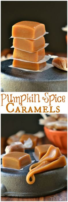 Soft, chewy, buttery, and perfectly spiced, these Pumpkin Spice Caramels are impossible to resist. A fabulous addition to your holiday festivities! // Mom On Timeout Yummy Recipes, Caramel Recipes, Candy Recipes, Fall Recipes, Sweet Recipes, Holiday Recipes, Yummy Food, Oreo Dessert, Puddings