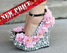 Floral Rhinestone Studded Spike Wedge Heels  Pretty Rock Girl