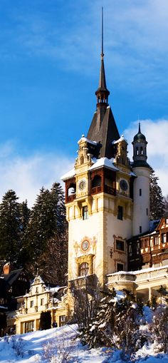 Beautiful Peles Castle in Romania, Sinaia The 20 Most Stunning Fairytale Castles in Winter Beautiful Castles, Beautiful World, Beautiful Places, Oh The Places You'll Go, Great Places, Places To Visit, Palaces, Fairytale Castle, Castle Ruins