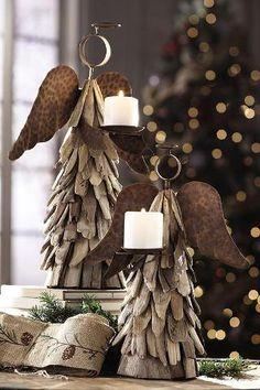 driftwood angel candleholders