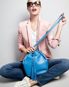 J.Crew women's Campbell blazer, tissue T-shirt, stretch toothpick Cone Denim® jean in Lancaster wash, Ryan sunglasses, tassel-tie bucket bag in smooth leather and Tretorn® canvas T56 sneakers.