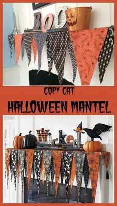 DIY copycat Halloween Mantel.  Sew or No Sew Options on this adorable Halloween Mantel Scarf