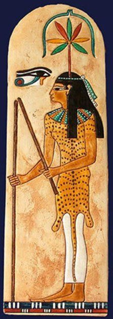 Seshat, the ancient Egyptian goddess of record-keeping and measurement with a colorful cannabis leaf over her head.