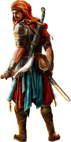 Probably Hule, or possibly Sind or Ylaruam warrior in a region of mild or cold climate (since metal armor is not work in hot regions like much of Sind or Ylaruam) [Nadirim_MaleWarrior_Artwork_CharacterArt. Fantasy Male, Fantasy Warrior, Fantasy Rpg, Medieval Fantasy, Dark Fantasy, Fantasy Fighter, Woman Warrior, Fantasy Portraits, Character Portraits