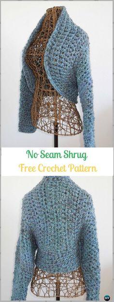 Crochet No Seam Shrug Free Pattern - Crochet Women Shrug Cardigan Free Patterns