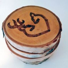 Buck and Doe Heart Birch Coaster Set