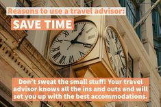 Reasons to use a travel advisor: Save Time Don't sweat the small stuff! Your travel advisor know all the ins and out and will set you up with the best accommodations. Travel Advisor, Trip Advisor, Cuba Travel, Travel Usa, Small Stuff, Group Travel, Busy Life, Staycation, Traveling By Yourself