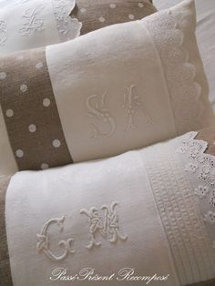 Past Present Reconstituted: Cushion, linen and monogram . Vintage Sheets, Vintage Fabrics, Bordados E Cia, Monogram Pillows, Embroidered Cushions, Machine Embroidery Applique, Linens And Lace, Heirloom Sewing, Embroidery Techniques