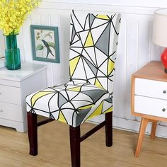 Forcheer Chair Covers Modern Kitchen Seat Case Wedding Chair Covers Spandex Elastic Floral Print For Dining Room Brown Leather Recliner, Leather Recliner Chair, Wooden Dining Room Chairs, Dining Furniture, Bar Chairs, Dining Chair, Patterned Chair, Stylish Chairs, Modern