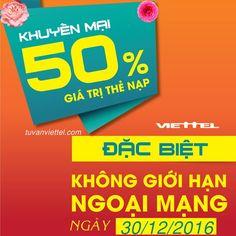 Viettel khuyến mãi 50% giá trị thẻ nạp ngày 30/12 cho KH thường xuyên