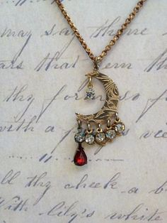 Victorian dangle crescent  moon pendant necklace by thejunkdiva, $45.00