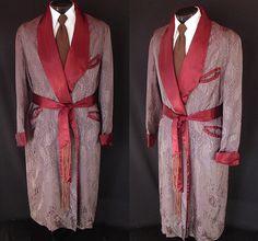 Vintage jacquard and silk men's smoking robe.