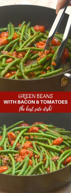 Green Beans with Bacon and Tomatoes are easy to make for a weeknight meal yet fancy enough for a holiday party. With tender-crisp green beans, smoky bacon, and juicy grape tomatoes, they're a guaranteed dinner favorite!