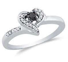 925 Sterling Silver Black & White Round Diamond Engagement Ring - Channel Set Heart Center Setting Shape (1/8 cttw.) - http://www.loveuniquerings.com/round-engagement-rings/925-sterling-silver-black-white-round-diamond-engagement-ring-channel-set-heart-center-setting-shape-18-cttw/