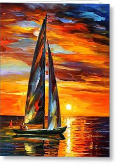 Sailing With The Sun - Palette Knife Oil Painting On Canvas By Leonid Afremov Greeting Card by Leonid Afremov