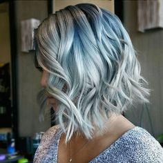 Adoring this light blue balayage look.