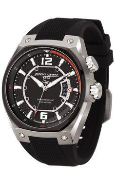 Jorg Gray JG8300-13 Men's Watch Black Dial Black Silicone Strap Swiss Movement