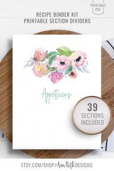 Printable Recipe Binder Kit Section Dividers - #recipebinderkit #recipekit #cookbook #recipeorganization #recipebook #cookbookorganization #printable #watercolorflorals #watercolor #flowers #diycookbook #diyrecipebook #recipebooksectiondividers #recipebooksections #familycookbook #familyrecipebook #cooking #baking #food #recipebinder #diy #printable #digitaldownload Baby Shower Printables, Baby Shower Invitations, Kit, Cookbook Organization, Recipe Sheets, Recipe Cover, Recipe Binders, Wrap Sandwiches, Cover Pages