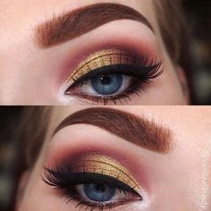 Haven't done something gold in awhile emoji For this look I used: Shadows • @morphebrushes Jaclyn Hill favourites palette for crease colours, and Mac Old Gold pigment on the lid Brows • @anastasiabeverlyhills Soft Brown Dipbrow Lashes • @eyemimosanfrancisco #NTR29 Liner • @sigmabeauty gel liner in Wicked emoji Brushes used • @makeupaddictioncosmeticsemoji