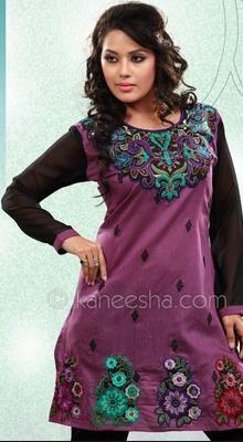Purple  Embroidered Kora Silk Indian Tunic